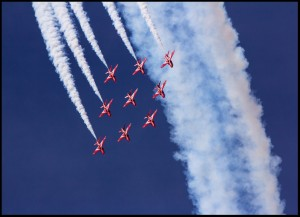 Red Arrows in Flight
