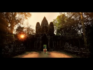 West Gate Angkor at sunset
